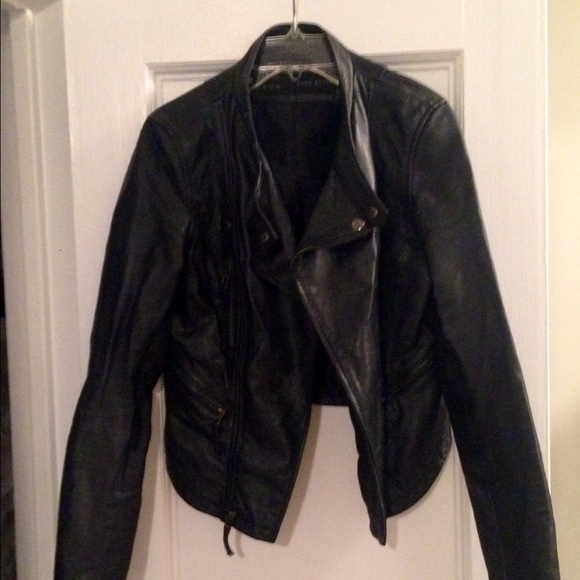f99d5dc4 Zara Jackets & Coats   Size M Black Leather Moto Jacket Fits Smaller ...