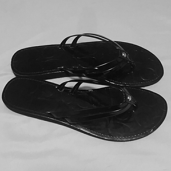 7c63ca80bfd22 Black Patent Leather Coach flip flops