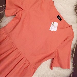 Kate Spade Saturday Coral Peplum Top