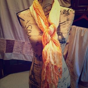 Accessories - 🍁🍂Orange and silver metallic scarf