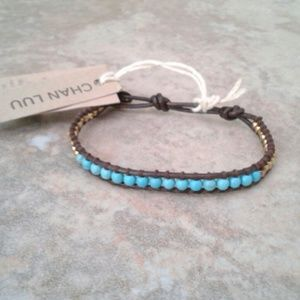 Chan Luu Turquoise & Gold Brown Leather Bracelet.