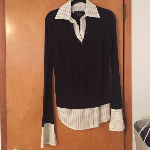 Bette Sung Sweaters Sweater With Attached Shirt Underneath Poshmark