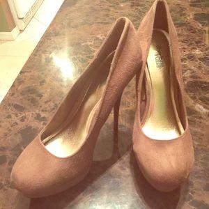 Charlotte Russe Tan Suade High Heels 8