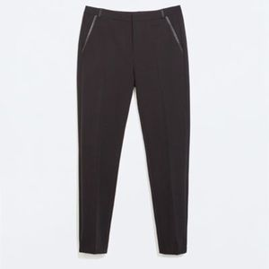 ZARA Trousers with Faux Leather Details