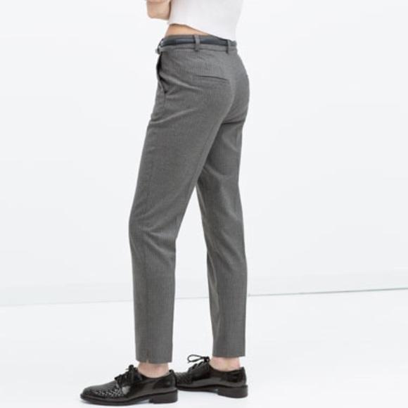 c0cba029 Zara Pants | Pinstripe Trousers With Belt | Poshmark