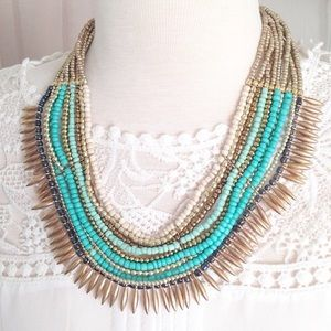 Tribal Beaded Aqua Statement Necklace
