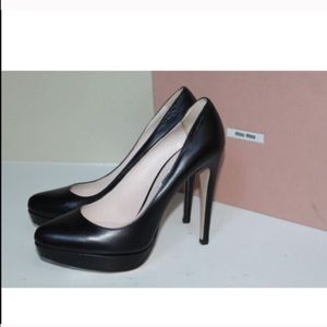 Miu Miu Black Classic Toe Pump Shoes