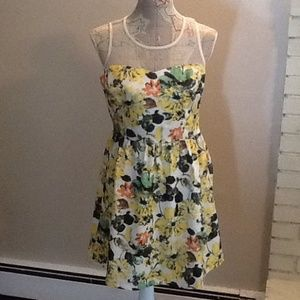 BNWT yellow print dress with mesh and side zip