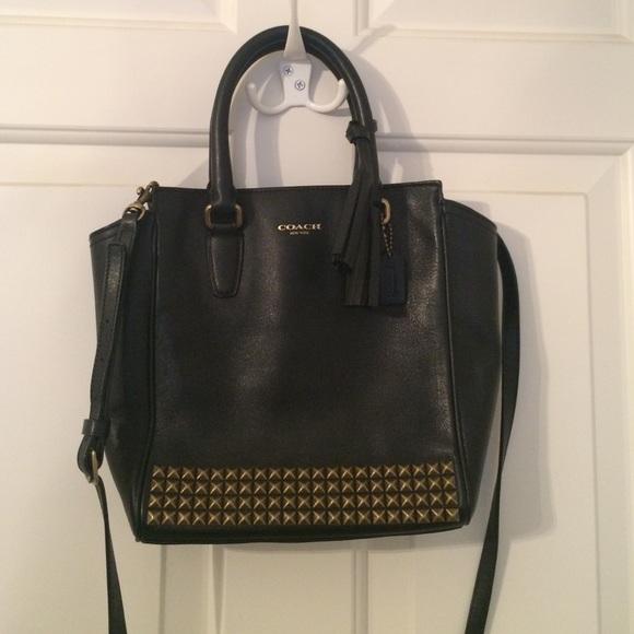 1321710f1304 Coach Mini tanner black studded legacy purse