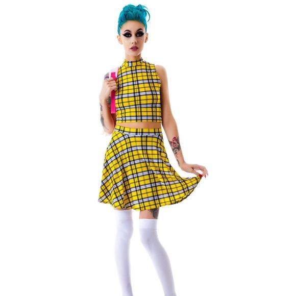 26183172c Dollskill Tops | Dolls Kill Clueless Crop Top Skirt Set | Poshmark