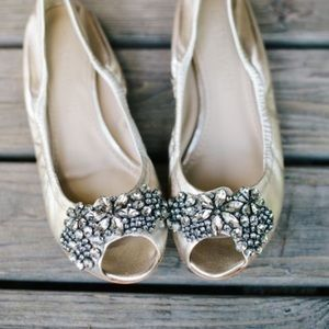 Vera Wang Shoes - Vera Wang jeweled peep toe flats