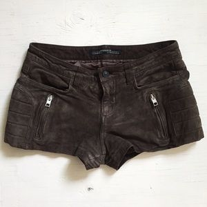 Allsaints mocha brown leather shorts