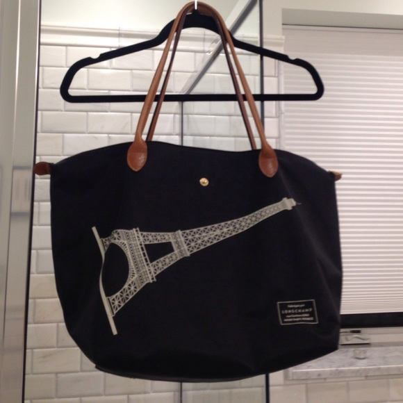 3ccd25154649 Longchamp Handbags - Black Longchamp bag with Eiffel Tower.