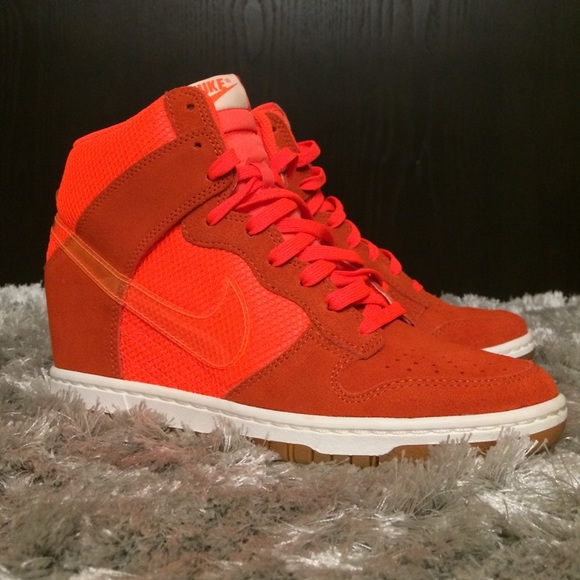 best loved da7df e535c Nike Womens Dunk Sky Hi Mesh- Neon Orange