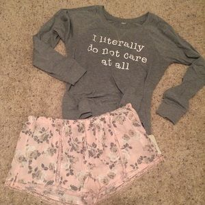 Forever 21 Other - NWT Pink & gray floral sleep shorts