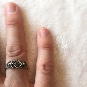 Diamond and hearts marcasite ring