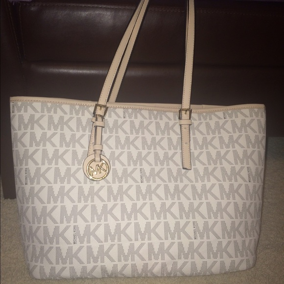 44% off Michael Kors Handbags - LIGHTLY USED white/tan Michael ...