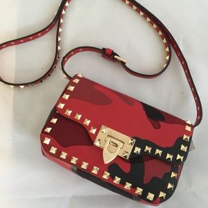 NEW Valentino Red Camo Patchwork Rockstud Bag