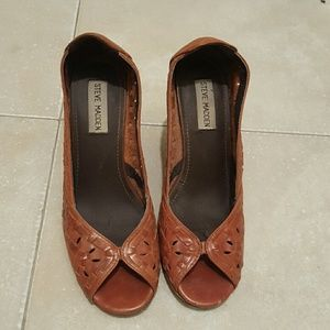 Steve Madden Cognac Leather Wedges Size 6.5