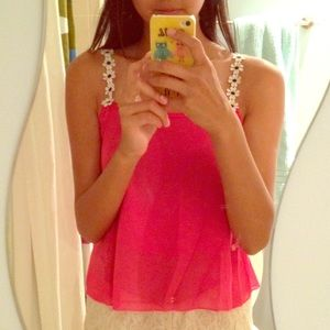 Tops - Hot Pink Flower Strap Tank