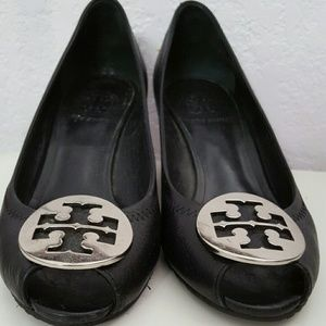 Authentic tory burch peep toe wedge