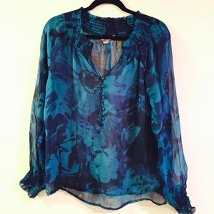 Blue floral sheer top