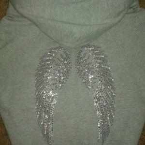 TWISTED HEART Tops - Twisted Heart w/ rhinestone wings Faux Fur hoodie