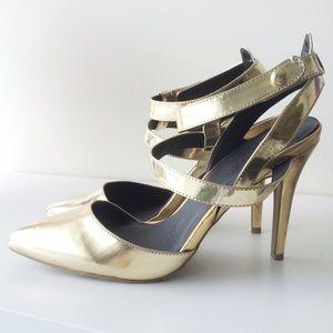 Shoe Republic LA Shoes - Shoe Republic LA Gold Strap Pump