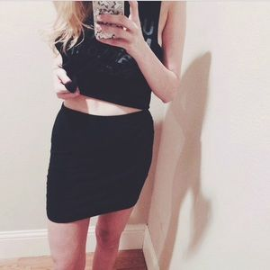 Asos black jersey knit bodycon skirt