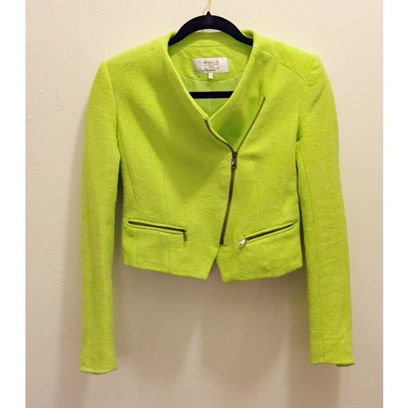71% off Zara Jackets &amp Blazers - Zara Neon Green Tweed Moto Jacket