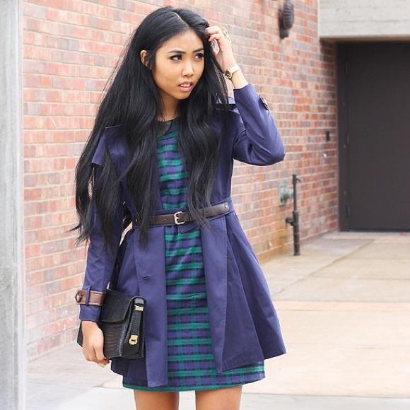 She Likes Dresses - tartan / plaid collar dress