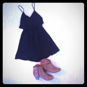TOPSHOP Cut Out Crinkle Sun Dress in Black