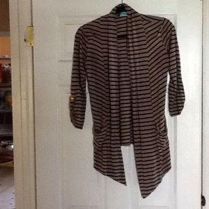 Black and beige striped cardigan