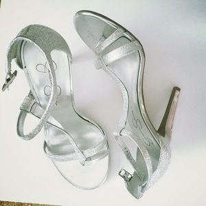 Jessica Simpson silver glitter heels
