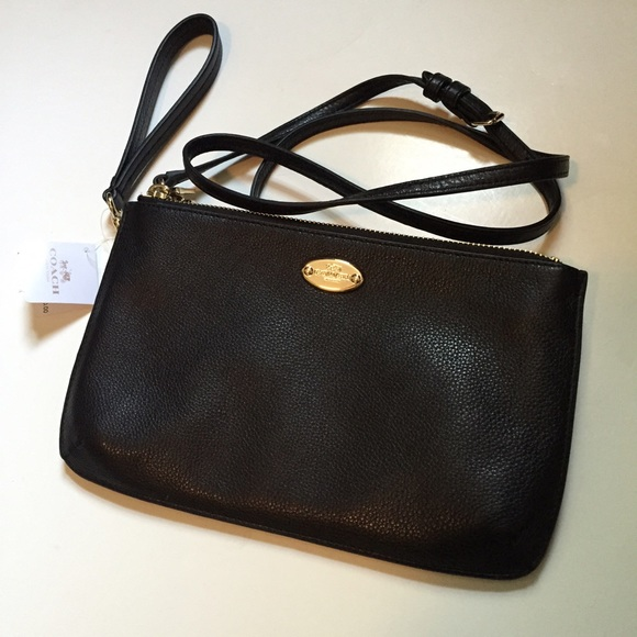 Coach Bags Lyla Black Leather Convertible Crossbody Bag