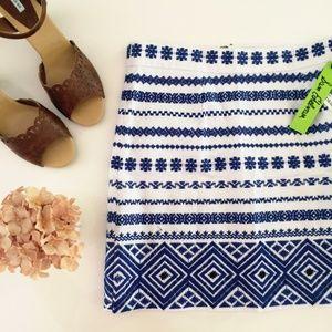 HP Sam Edelman embroidered blue mini skirt