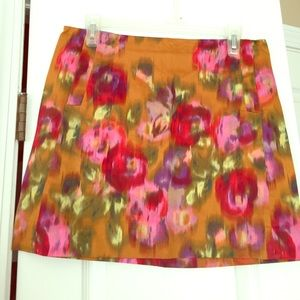 J. Crew Floral Watercolor Print Skirt