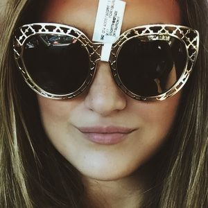 Tory Burch Gold Lattice Cat Eye Sunglasses