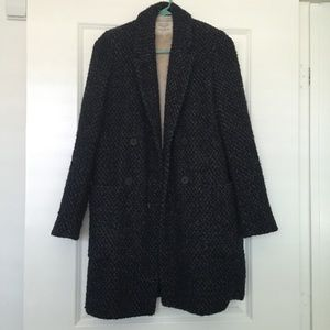 Zara Tweed Faux Fur Trench