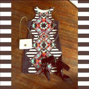 Kelidescope Mod pattern bodycon dress