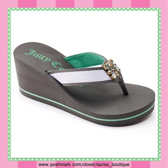 78ff9f4e9146a Juicy Couture Gray Green w Rhinestones Sandals