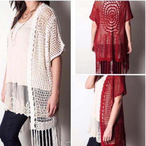 Tla2 Other Crochet Knit Fringe Kimono Poshmark