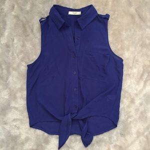 Tops - Chiffon Blue Button-up Top