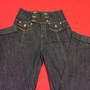 Denim - High waist sailor style jeans.
