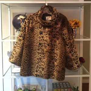 Free People Cheetah faux fur cape jacket