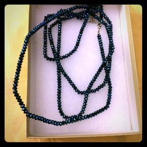 Long blue beaded necklace super alluring