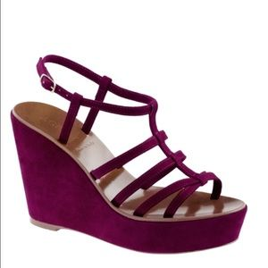 J.Crew Purple peony Willa Suede Platform Wedges