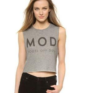 The Laundry Room Tops - NWT Crop Top OSFM Model Off Duty MOD Tee hthr grey