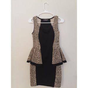 Animal print Peplum dress