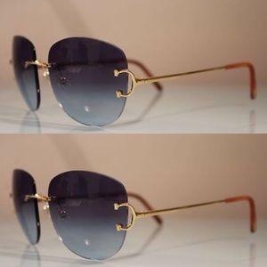 2ab1098e9e7 Cartier Rimless Wood Glasses